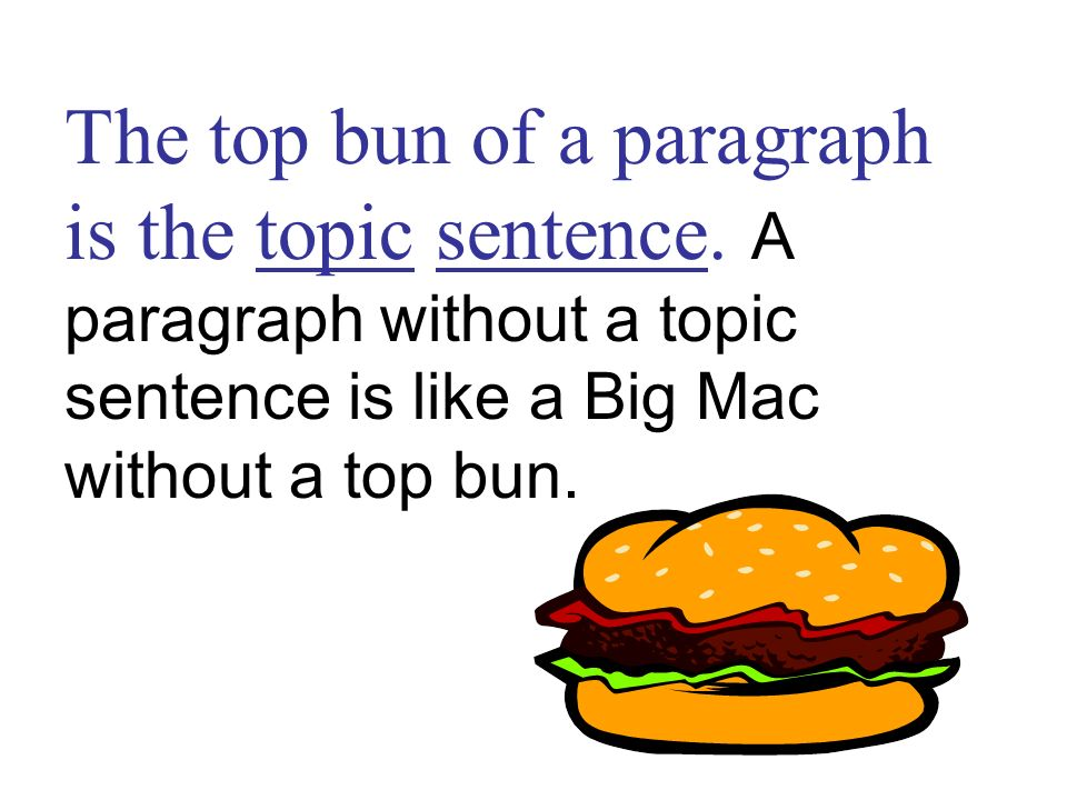 The top bun of a paragraph is the topic sentence