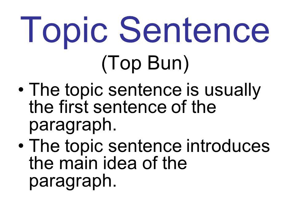 Topic Sentence (Top Bun)