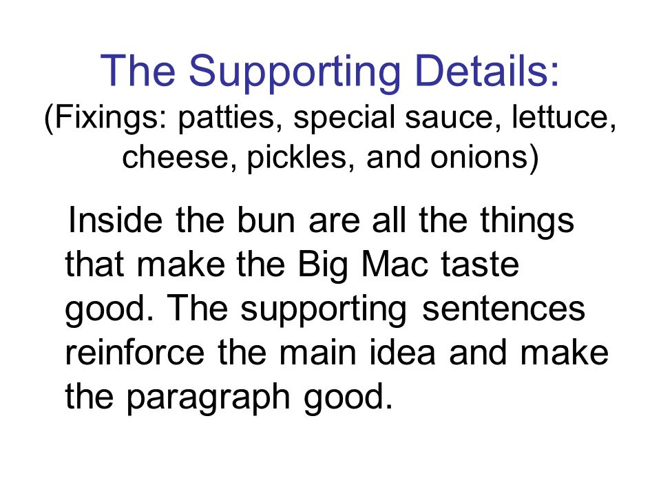 The Supporting Details: (Fixings: patties, special sauce, lettuce, cheese, pickles, and onions)