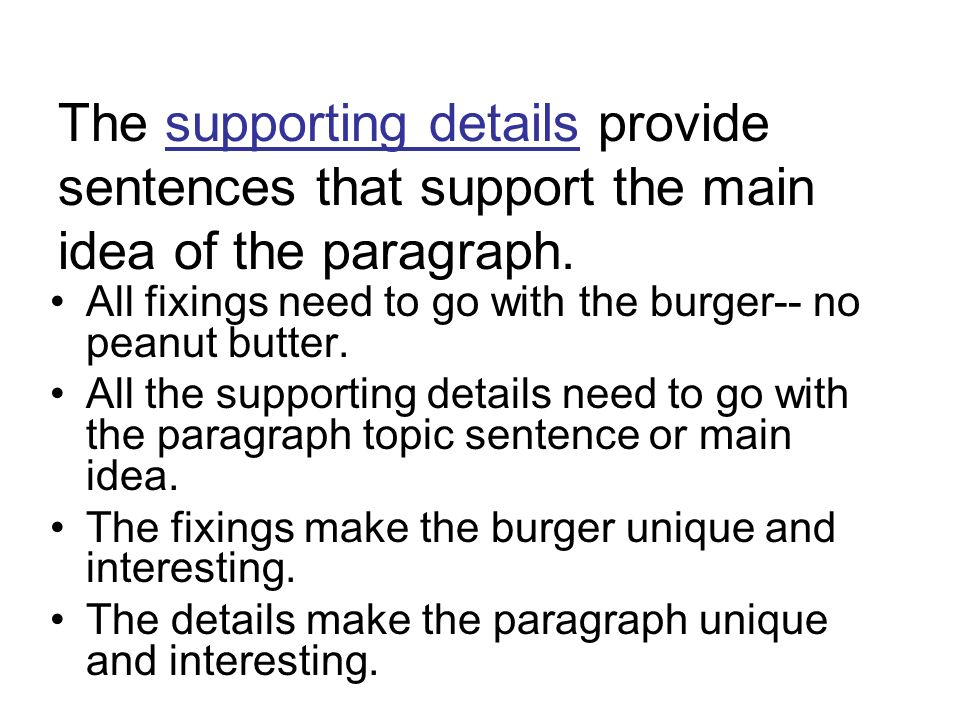 The supporting details provide sentences that support the main idea of the paragraph.