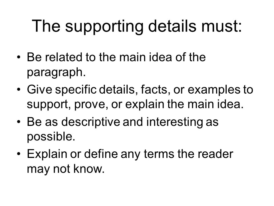 how to write a main idea paragraph