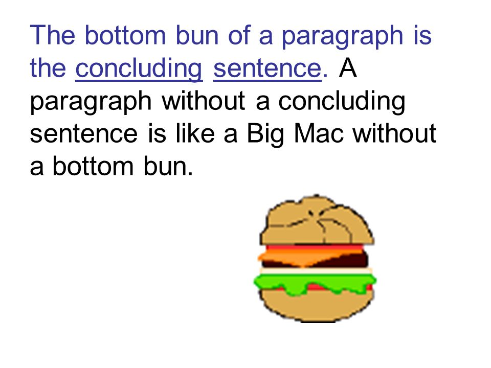 The bottom bun of a paragraph is the concluding sentence