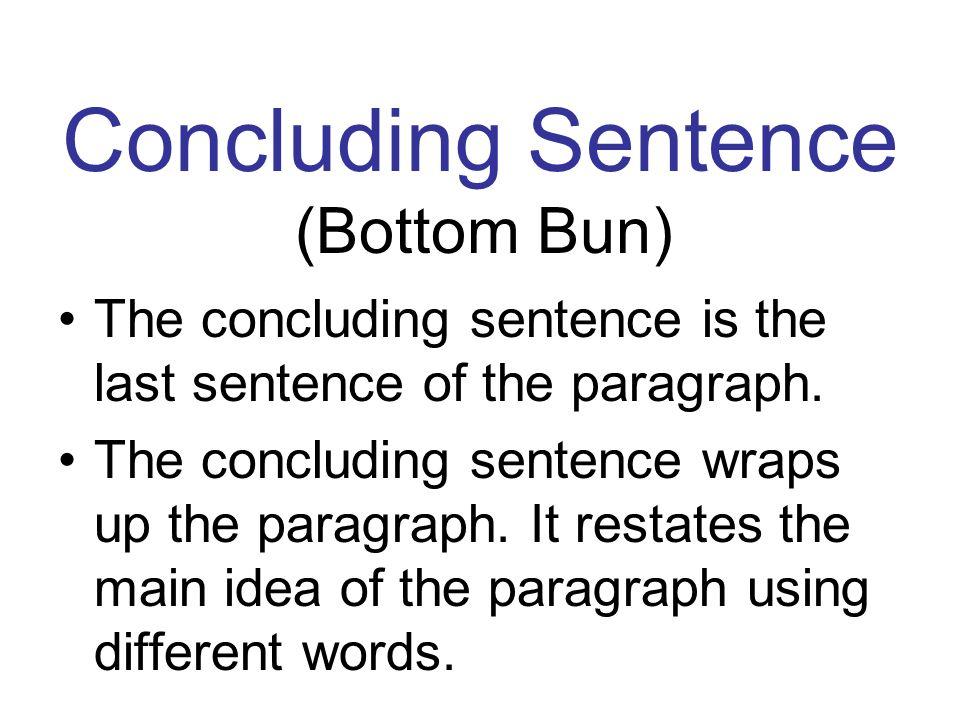 Concluding Sentence (Bottom Bun)
