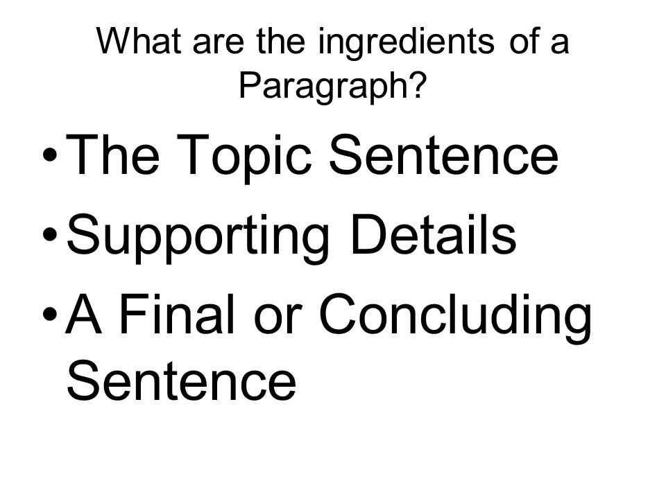 What are the ingredients of a Paragraph