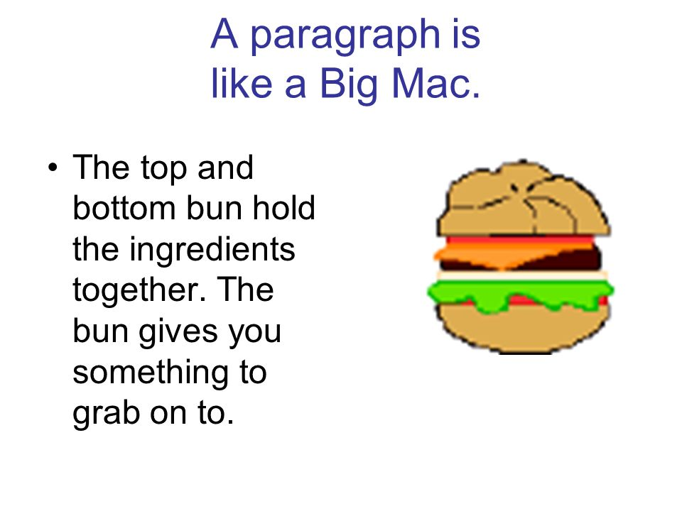 A paragraph is like a Big Mac.