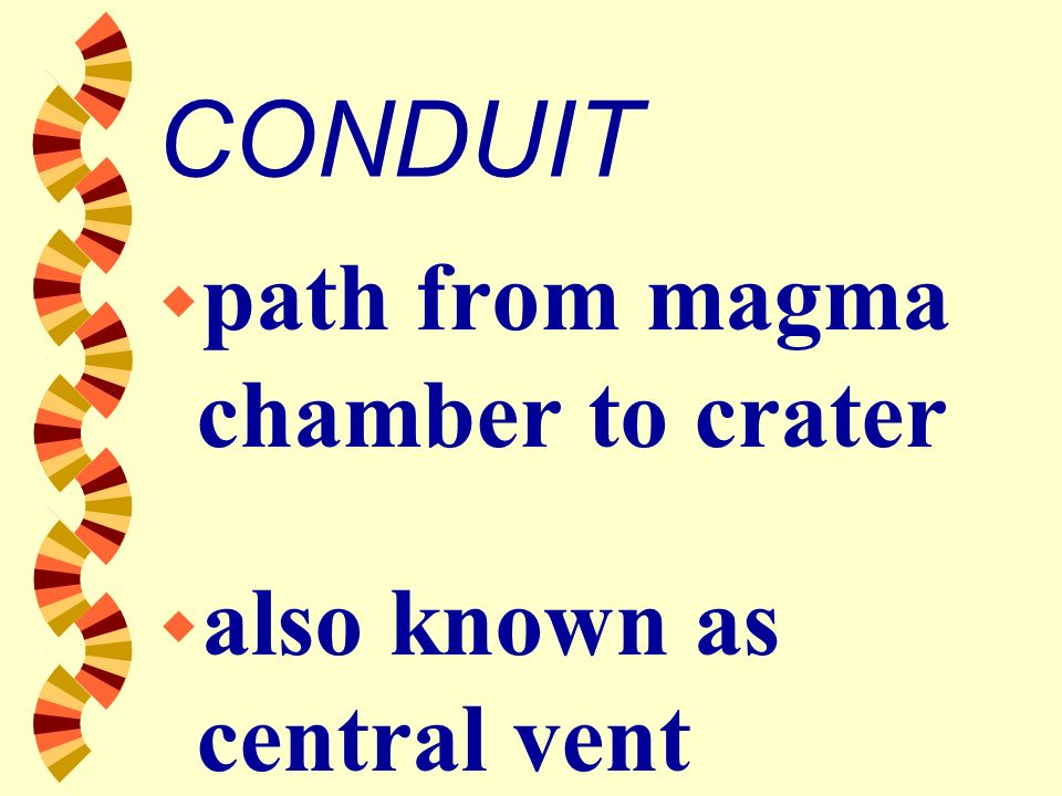 CONDUIT path from magma chamber to crater also known as central vent