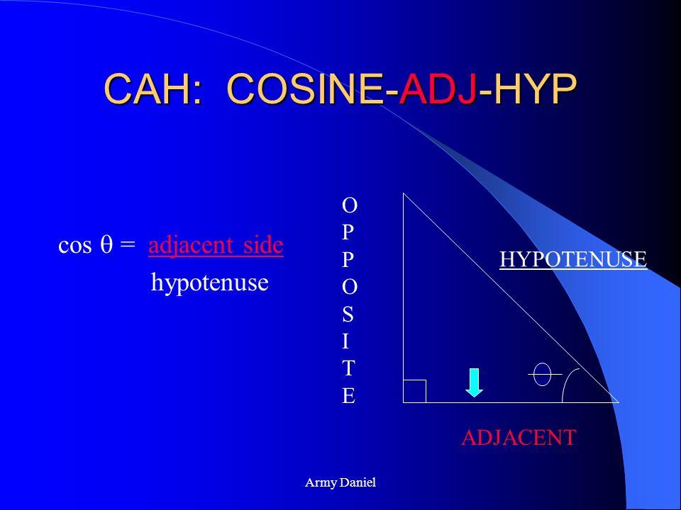 CAH: COSINE-ADJ-HYP cos  = adjacent side hypotenuse OPPOSITE