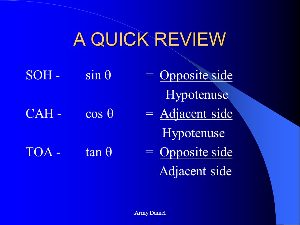 A QUICK REVIEW SOH - sin  = Opposite side Hypotenuse
