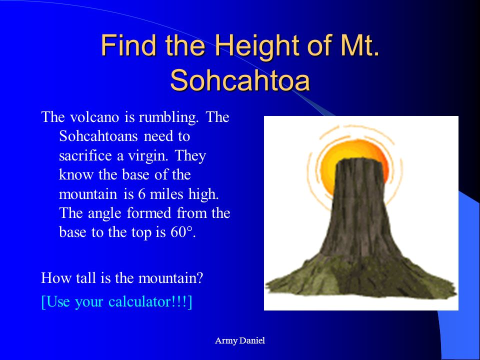 Find the Height of Mt. Sohcahtoa
