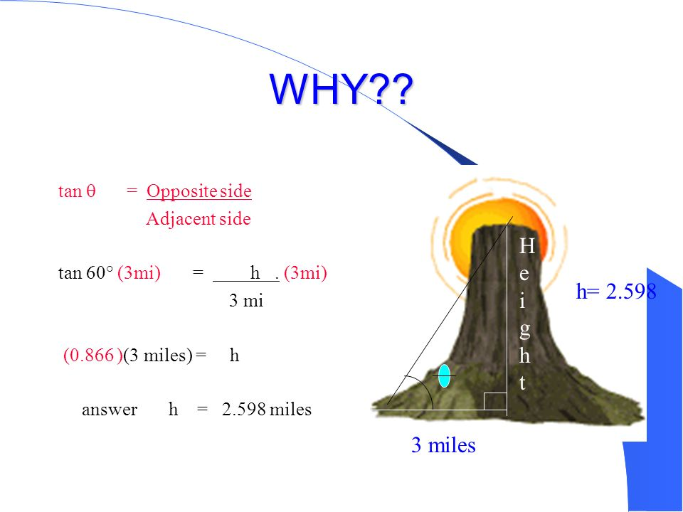 WHY Height h= 2.598 3 miles tan  = Opposite side Adjacent side