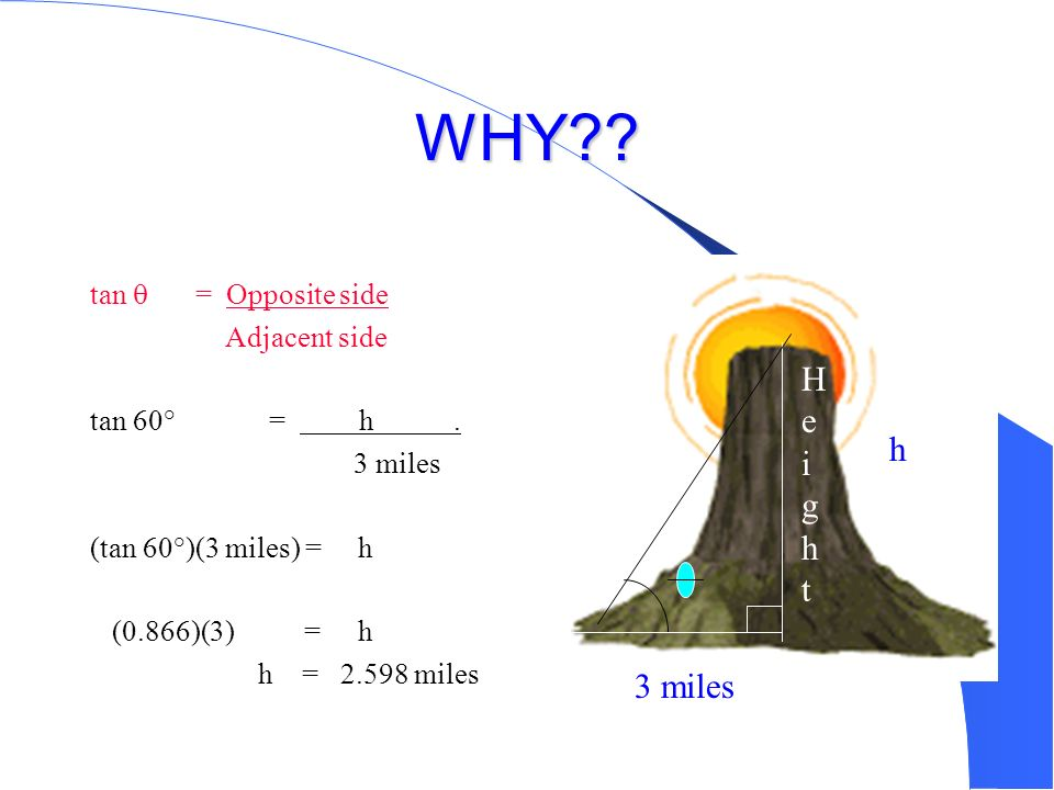 WHY Height h 3 miles tan  = Opposite side Adjacent side