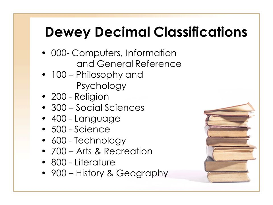 Dewey Decimal Classifications
