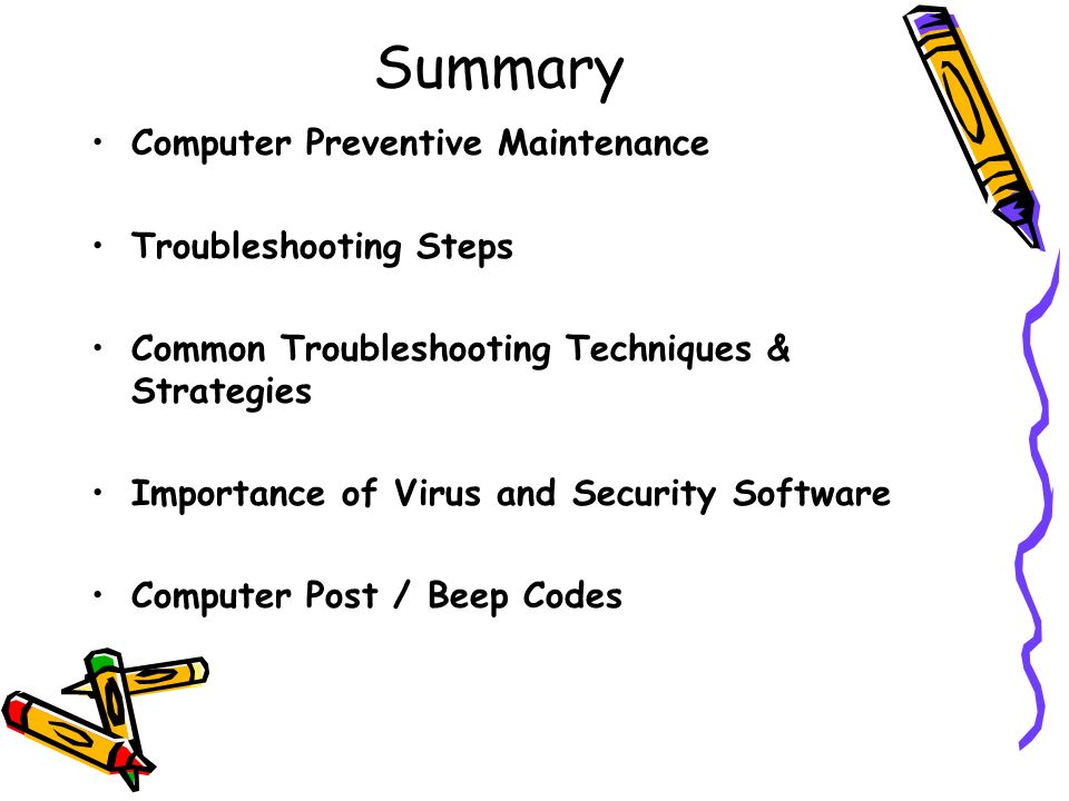 Summary Computer Preventive Maintenance Troubleshooting Steps