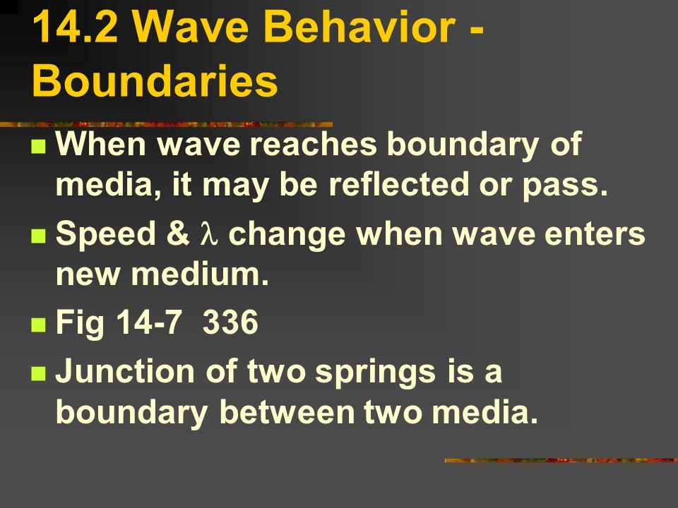 14.2 Wave Behavior -Boundaries