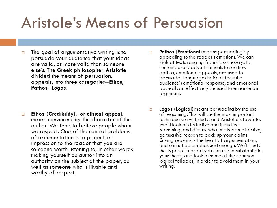 Aristole's Means of Persuasion