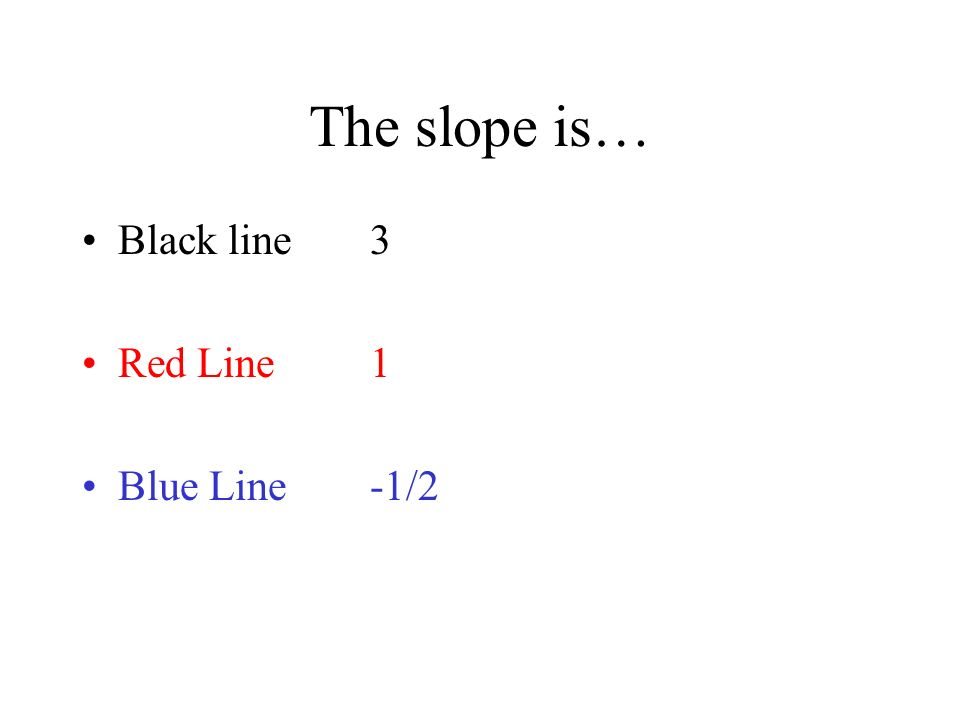 The slope is… Black line 3 Red Line 1 Blue Line -1/2
