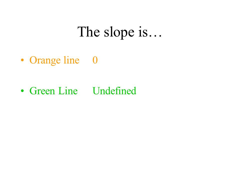 The slope is… Orange line 0 Green Line Undefined