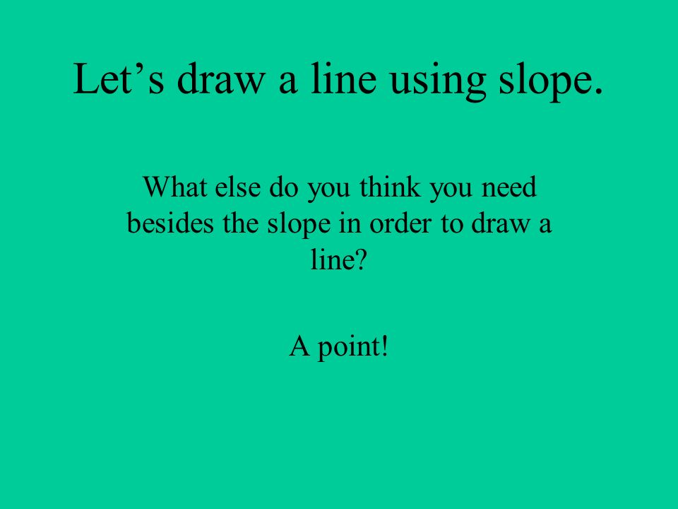 Let's draw a line using slope.