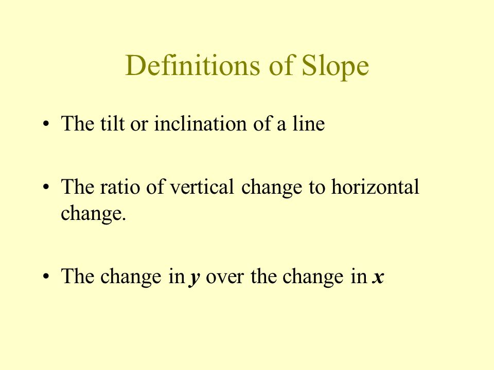 Definitions of Slope The tilt or inclination of a line