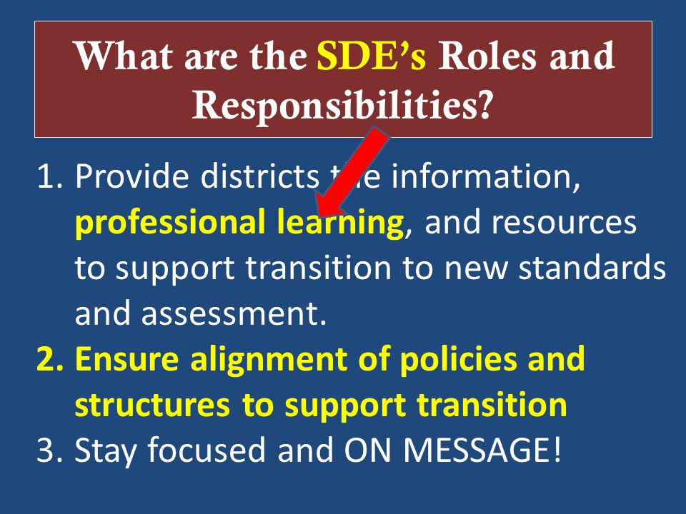 What are the SDE's Roles and Responsibilities