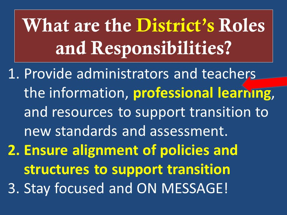 What are the District's Roles and Responsibilities