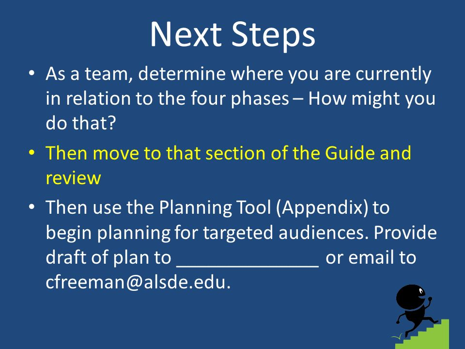 Next Steps As a team, determine where you are currently in relation to the four phases – How might you do that