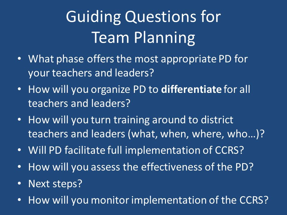 Guiding Questions for Team Planning