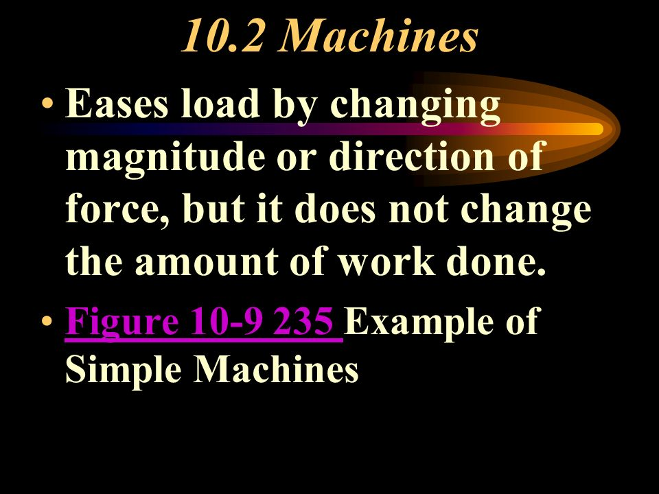 10.2 Machines Eases load by changing magnitude or direction of force, but it does not change the amount of work done.