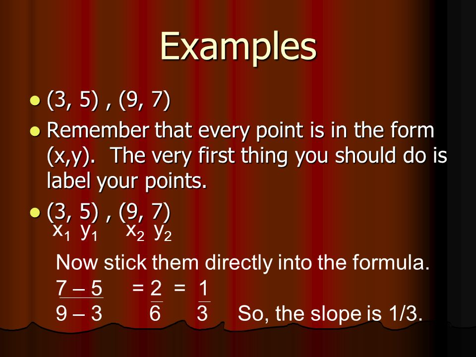 Examples (3, 5) , (9, 7) Remember that every point is in the form (x,y). The very first thing you should do is label your points.