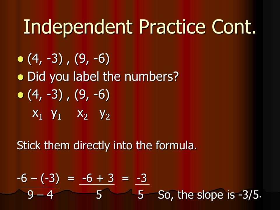 Independent Practice Cont.