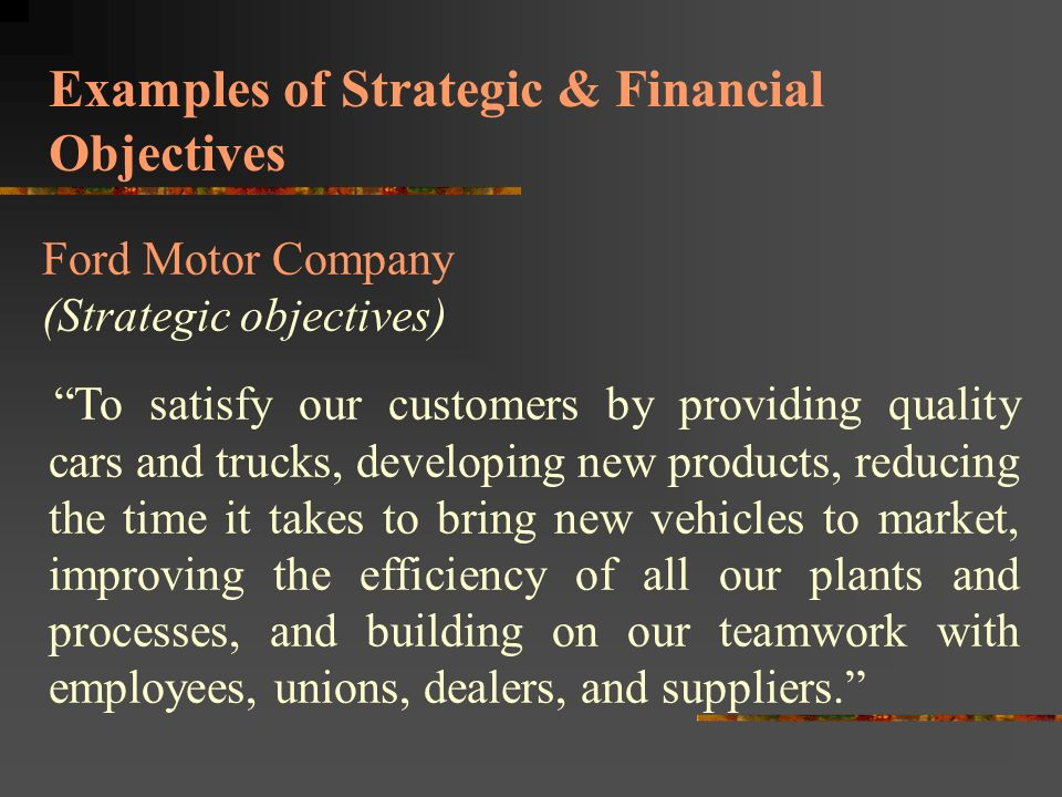 Financial objectives and strategic objectives