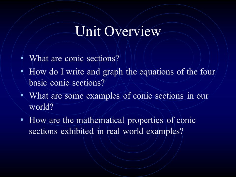 Unit Overview What are conic sections