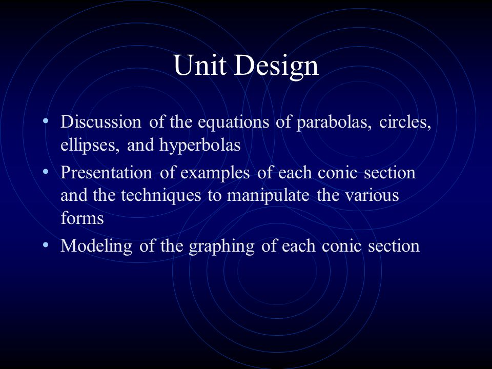 Unit Design Discussion of the equations of parabolas, circles, ellipses, and hyperbolas.