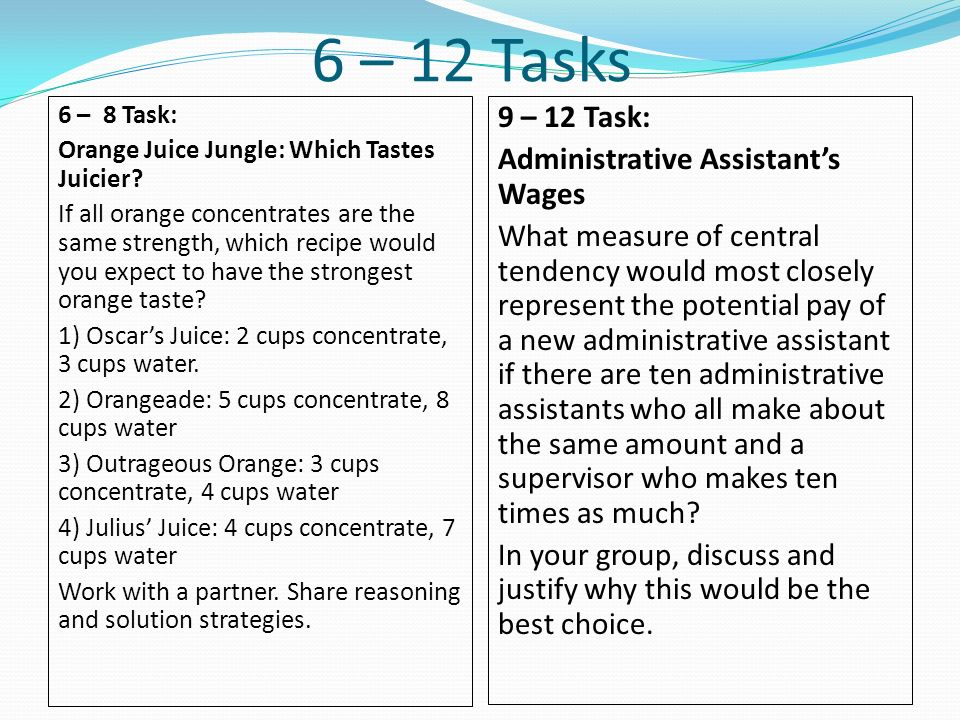 6 – 12 Tasks 9 – 12 Task: Administrative Assistant's Wages