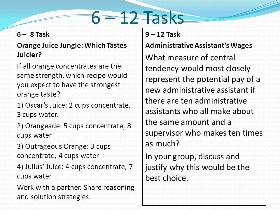 6 – 12 Tasks 6 – 8 Task. Orange Juice Jungle: Which Tastes Juicier