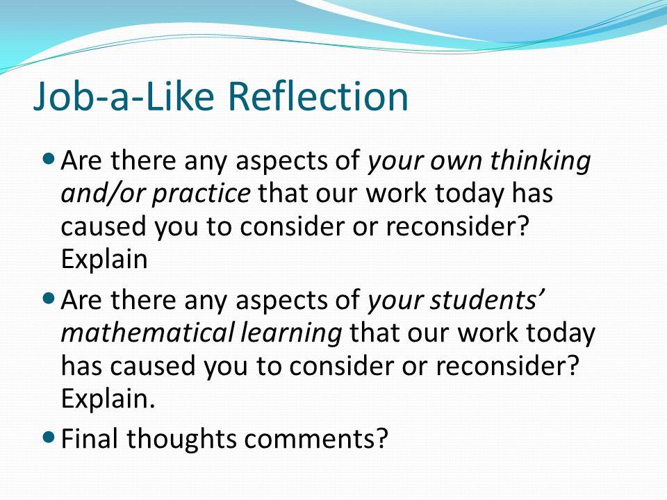 Job-a-Like Reflection