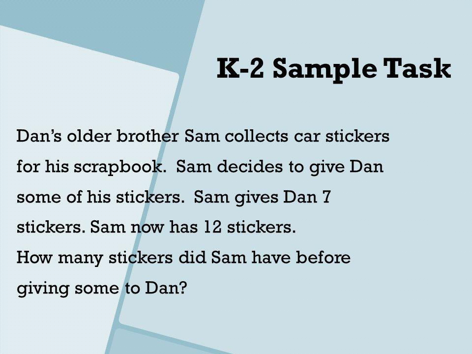 K-2 Sample Task