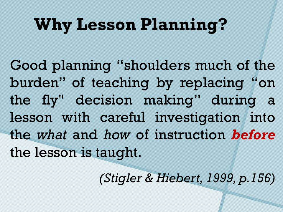 Why Lesson Planning
