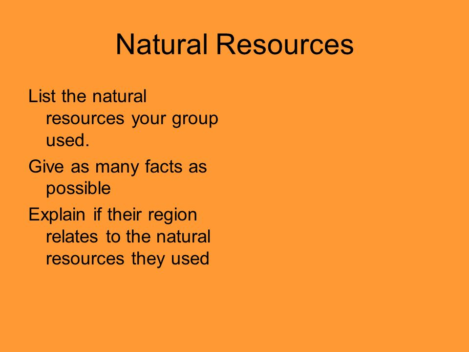 Natural Resources List the natural resources your group used.