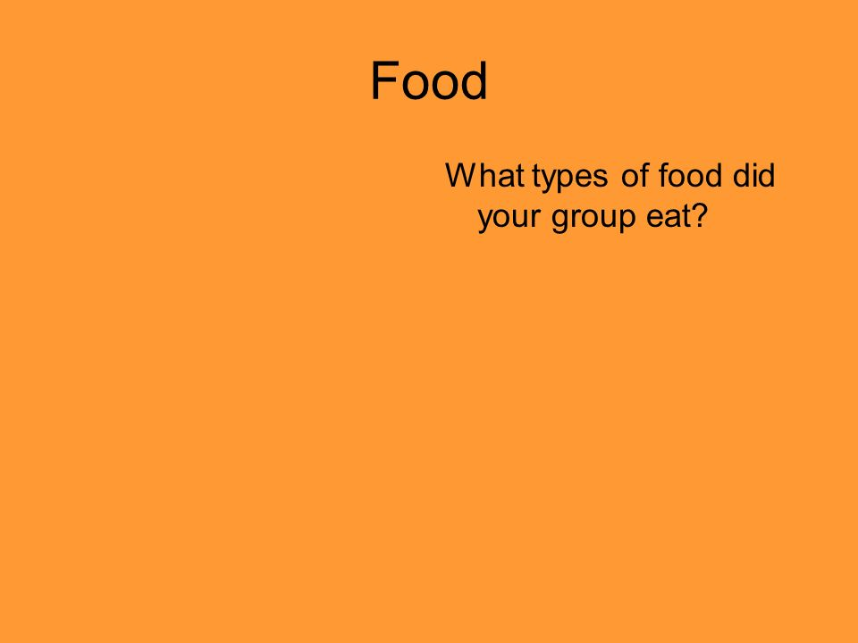 Food What types of food did your group eat