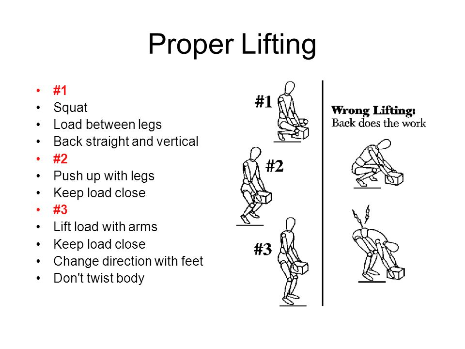 Proper Lifting #1 Squat Load between legs Back straight and vertical