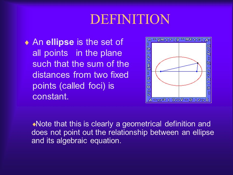 DEFINITION An ellipse is the set of all points in the plane such that the sum of the distances from two fixed points (called foci) is constant.