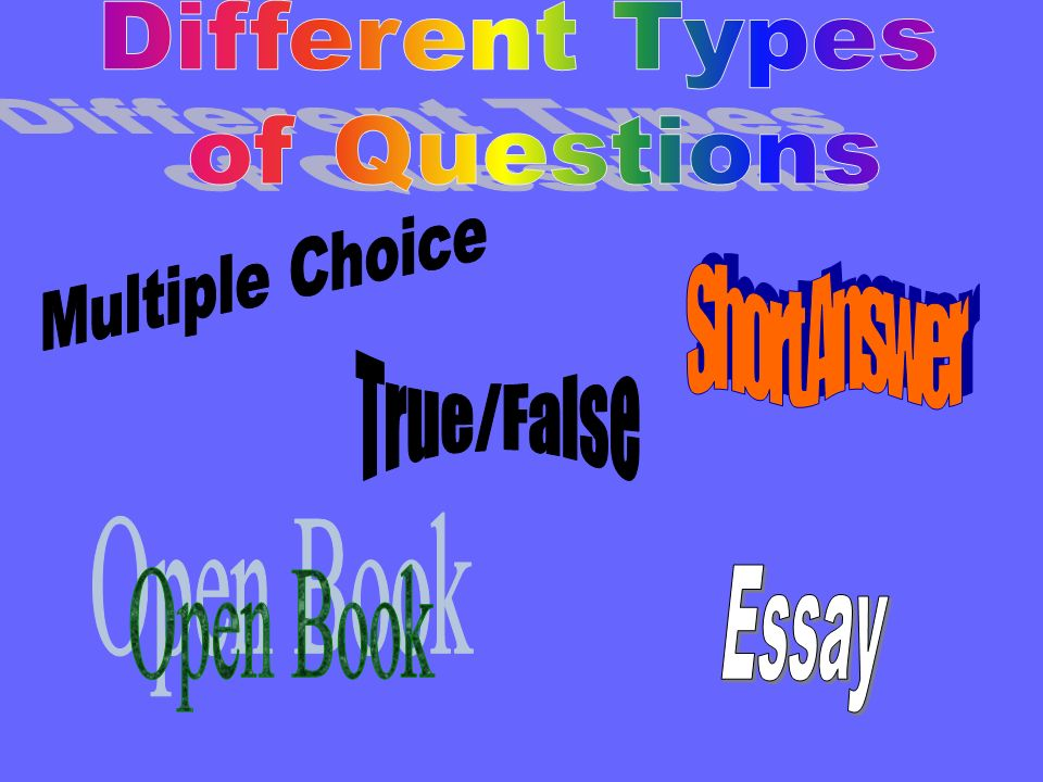 Different Types of Questions Multiple Choice Short Answer True/False Open Book Essay