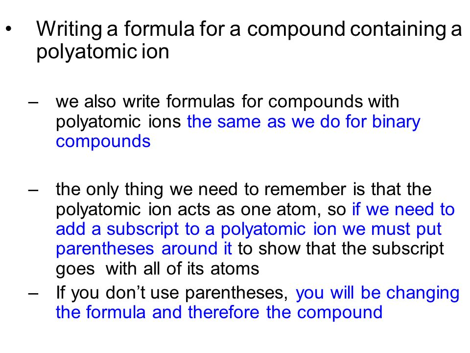 how to know if polyatomic ion