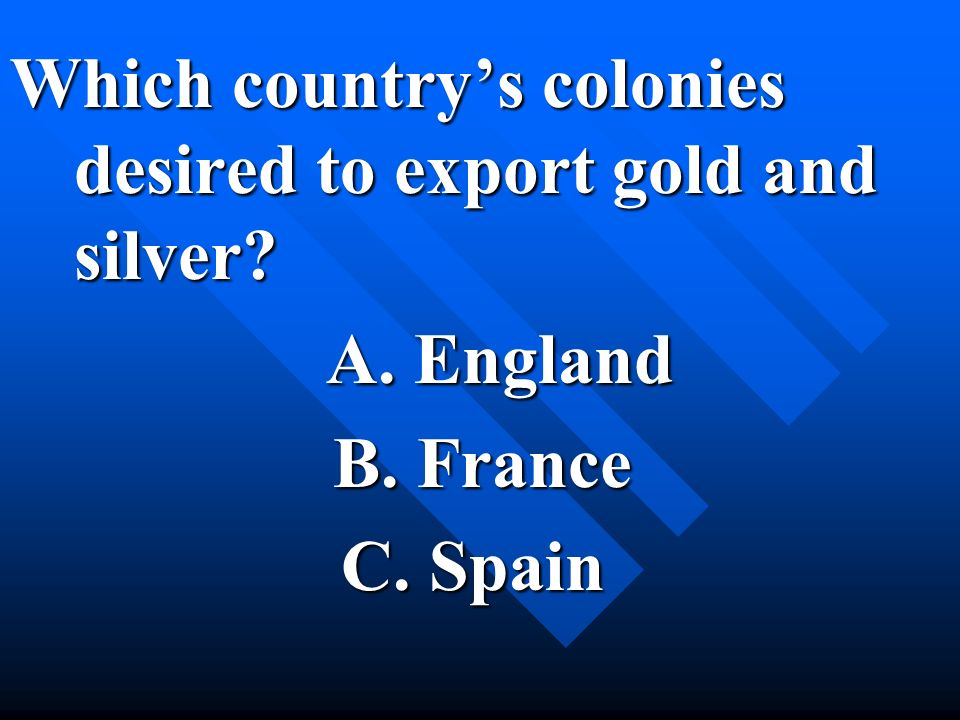 Which country's colonies desired to export gold and silver