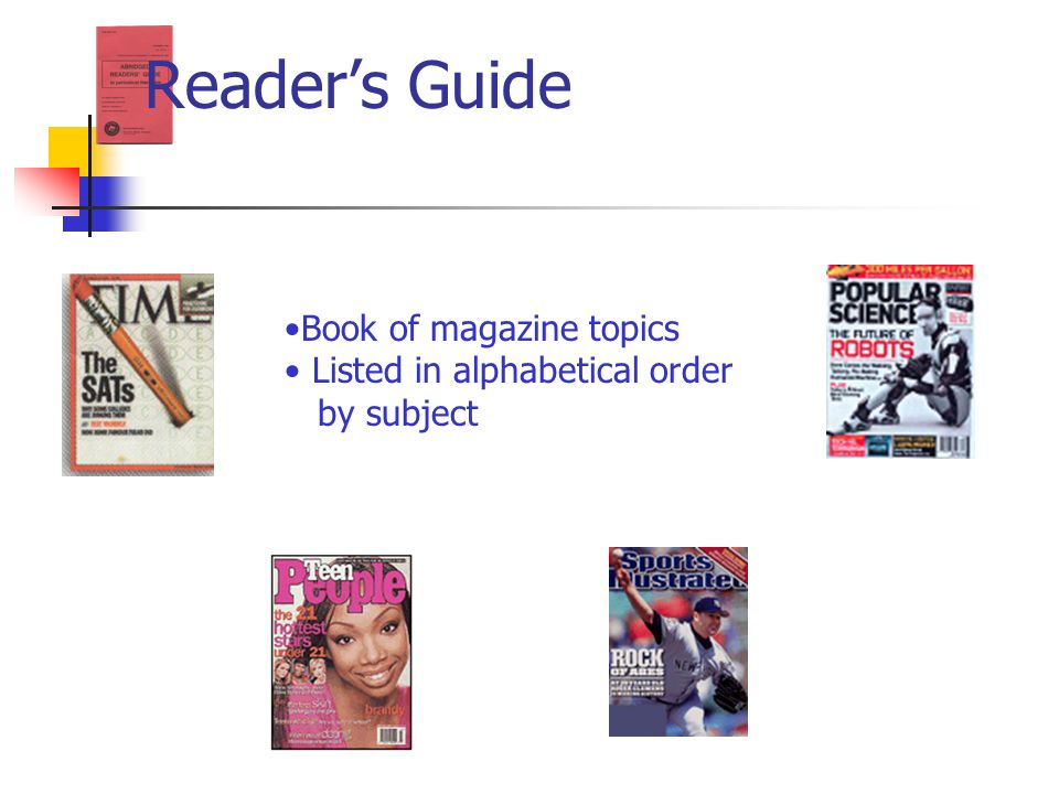 Reader's Guide Book of magazine topics Listed in alphabetical order