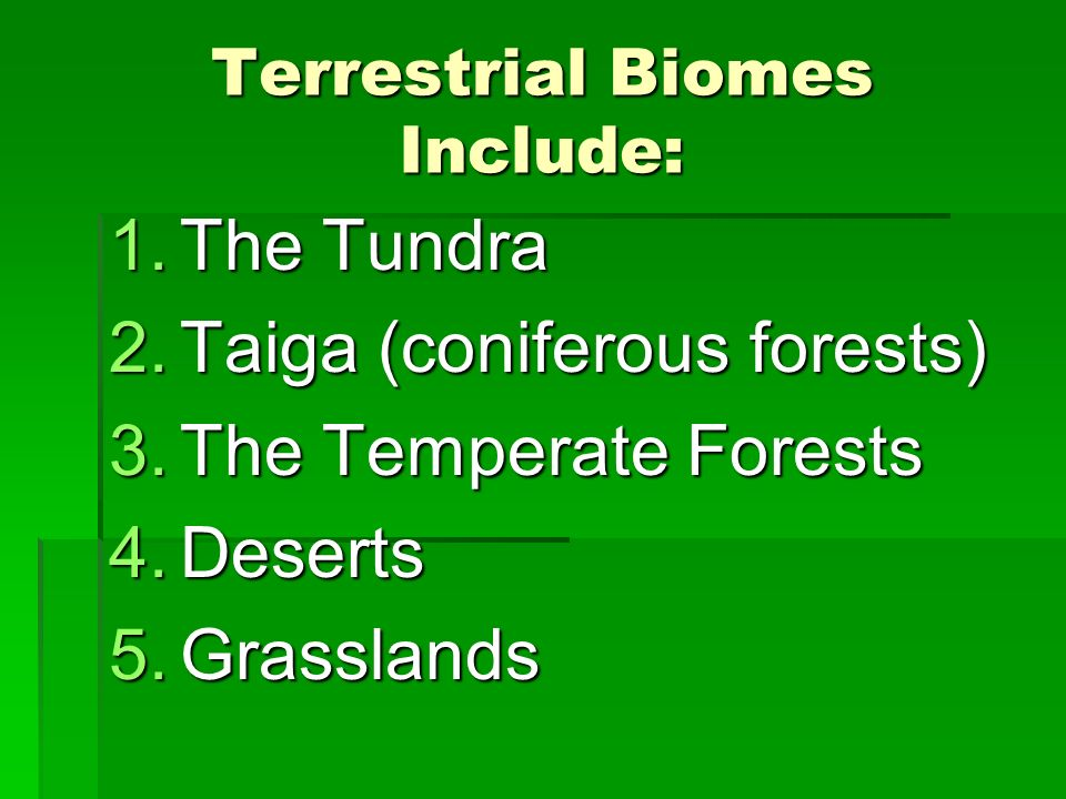 Terrestrial Biomes Include: