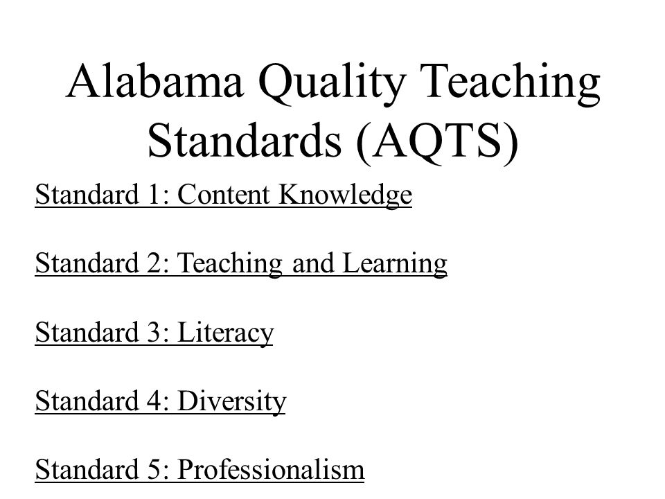 Alabama Quality Teaching Standards (AQTS)