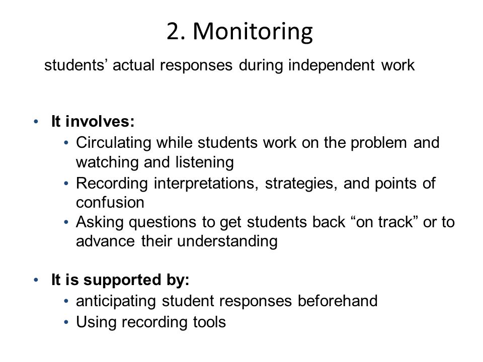 students' actual responses during independent work