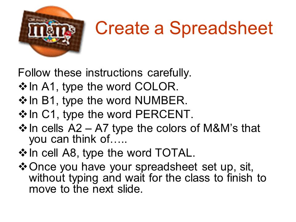 Create a Spreadsheet Follow these instructions carefully.